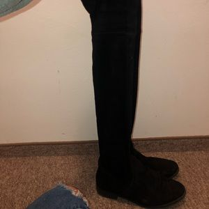 Black suede over the knee flat boots